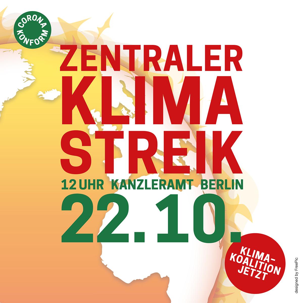 Zentraler Klimastreik am 22. 10. um 12 Uhr am Kanzleramt